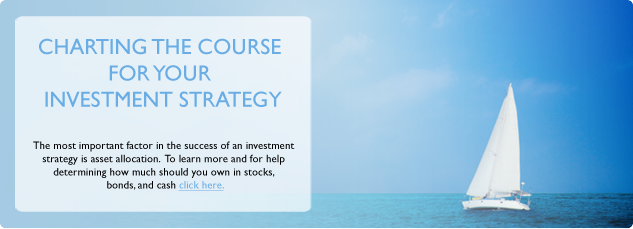 Charting the course for your investment strategy. The most important factor in the success of an investment strategy is asset allocation. To learn more and for help determining how much should you own in stocks, bonds and cash. Click Here.